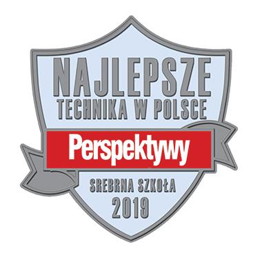 """Srebrna Tarcza dla """"Staszica""""jako wyróżnienie zawysokie miejsce wrankingu najlepszych techników wwojewództwie łódzkim iwrankingu ogólnopolskim!"""