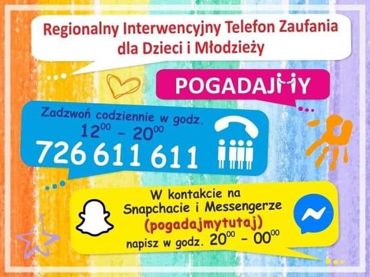 726 611 611 –  Regionalny Interwencyjny Telefon Zaufania dla Dzieci iMłodzieży
